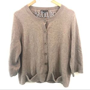 Eileen Fisher Cashmere Cardigan in Camel